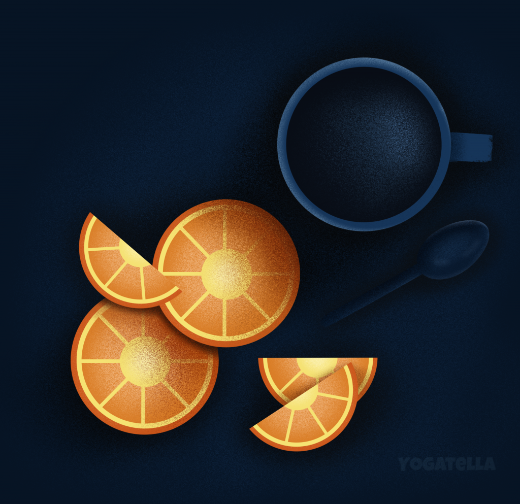 Offering you a cup of coffee and some orange slices to boost your Monday via this illustration. With love from Yogatella!
